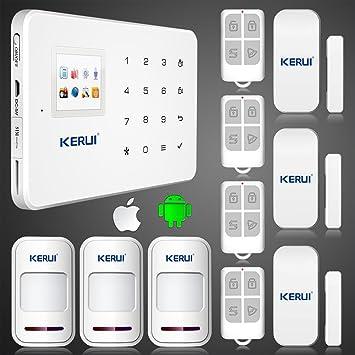 sistema de alarma casera androide aplicación GSM ARBUYSHOP KERUI G18 ios con pantalla a color TFT