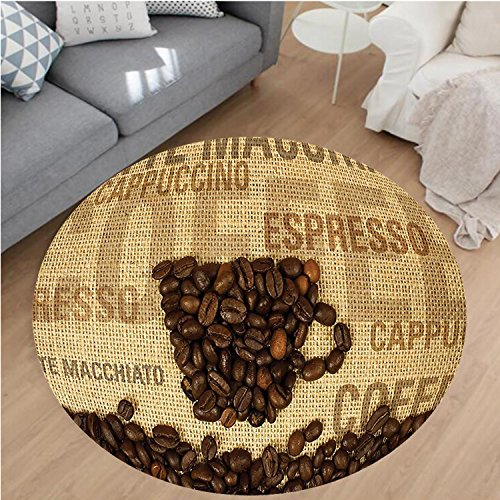 Nalahome Modern Flannel Microfiber Non-Slip Machine Washable Round Area Rug-Coffee Beans Shaped Mug and Coffee Types Letterings Art Print Dark Brown and Light Brown area rugs Home Decor-Round 55