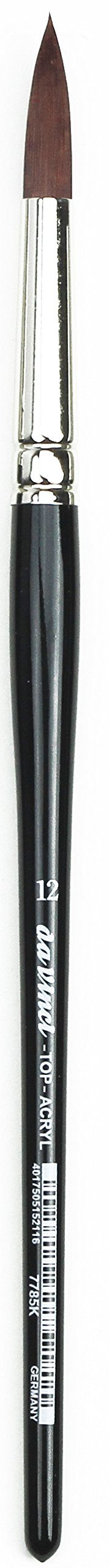 da Vinci Oil & Acrylic Series 7785K Top Acryl Paint Brush, Round Red/Brown Synthetic with Short Black Handle, Size 12