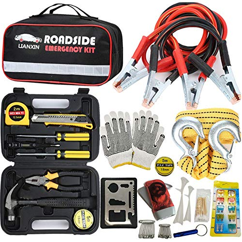 (LIANXIN Car Emergency Kit - Road Rescue First Aid Kit for Automotive Safety Kit,Jumper Cable (122 Pieces),Multi-Purpose Tool Kit,Traction Rope,etc The Ultimate Product is Integrated for All Cars ... )