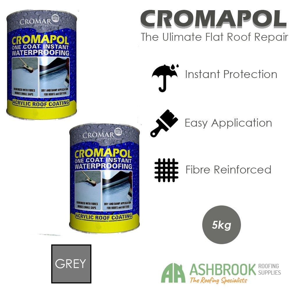 Cromapol | Acrylic Roof Coat | Fibre Reinforced | Roof Paint | Roof Sealant | Grey | 2 x 5kg Cromar