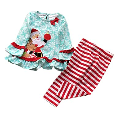 cac33ef12d6 Christmas Infant Toddler Kids Baby Girls Boys Long Sleeve Santa Tops  Striped Pants Xmas Outfits Set