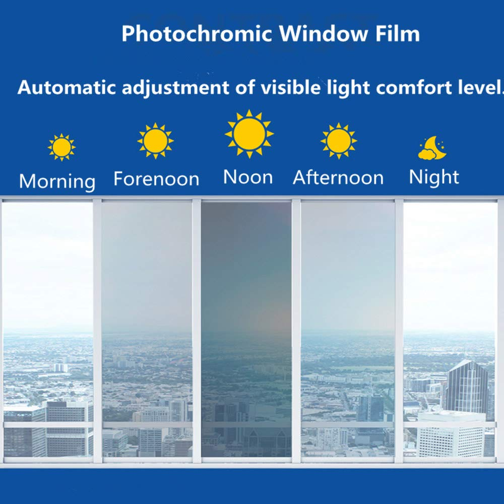 HOHOFILM 70''X20'' Photochromic Window Film VLT 43% - 73% Color Changing Window Tint Sunlight Control Heat Rejection Anti-UV for Home &Buildings by HOHOFILM