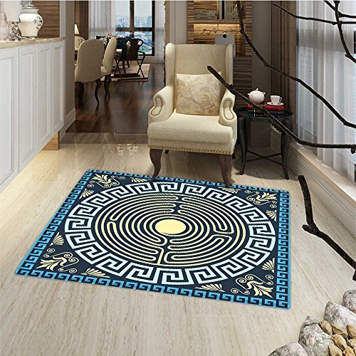 - Greek Key Bath Mats Carpet Yellow and Blue Labyrinth Pattern from Ancient Culture with Floral Details Door Mat Increase 30