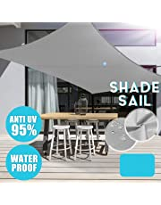 Square Grey Sun Shade Sail Canopy with 4 Ropes 95% UV Blocks Sails for Patio Lawn Garden - Commercial Grade 90g/m2