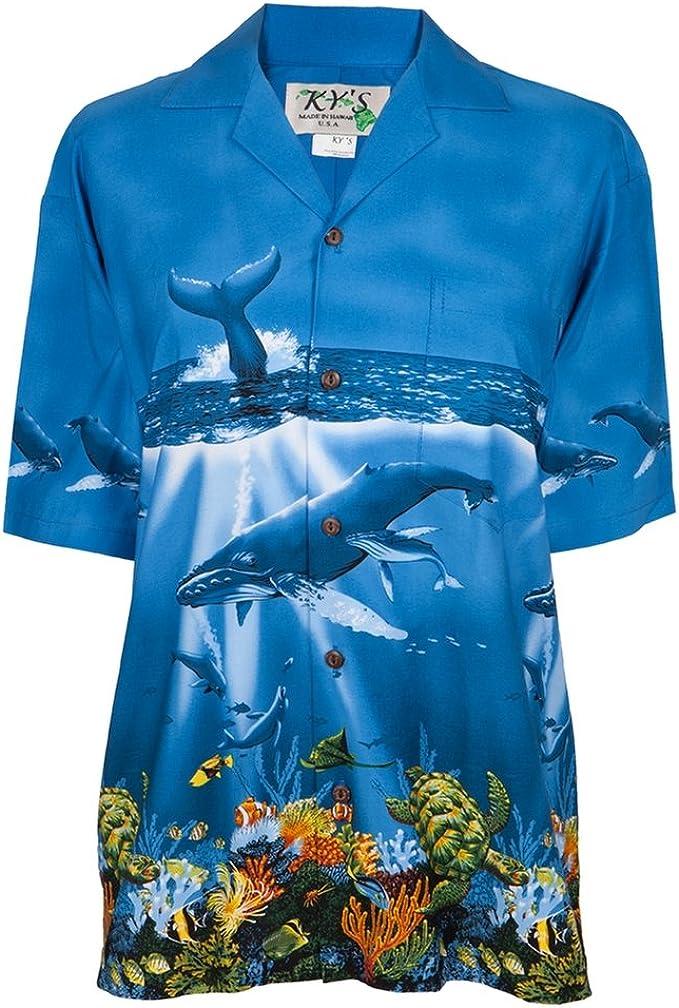 Animal World Camisa Hawaiana de Ballenas Nadando en el océano
