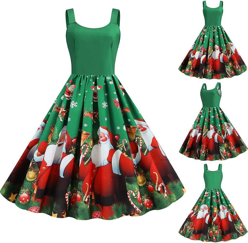 AMhomely Women Dresses Sale Ladiess Christmas Vintage Midi Swing Dress Xmas Santa Party Skater Dresses Plus Size Dress Party Elegant Dress Vintage Dress UK Size S XXXXL