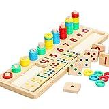 hibote I primi giocattoli educativi Montessori Materiali regalo bambino conte di legno e numeri corrispondono, blocchi matematici Shape Sorter manopola Puzzle apprendimento per i bambini Bambini (16.92 X 5.51 X 1.177 pollici)