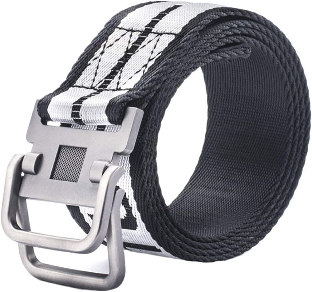 LVLUOYE Men Belt s Canvas Braided Casual Outdoor For Ring Double Buckle Drying