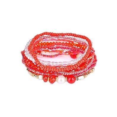 a5f5d61a21 Amazon.com  ARINLA Bracelets Bangle Multilayer Stretch Acrylic Beaded  Bohemian Bracelet Jewelry  Jewelry
