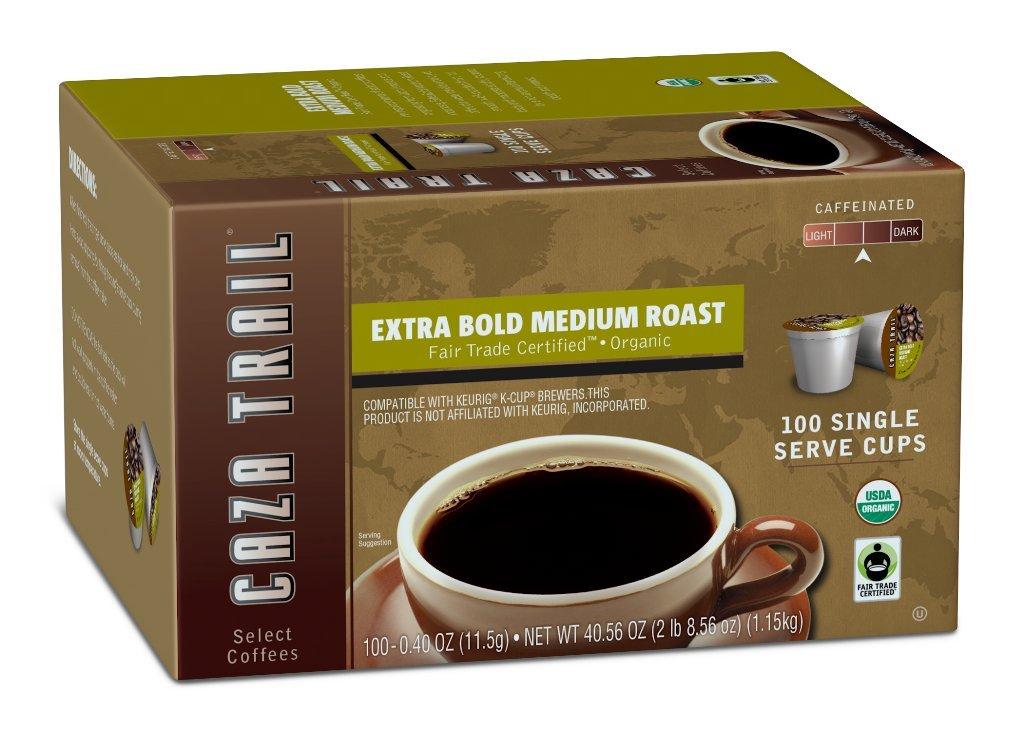 Caza Trail Coffee, Organic Extra Bold Medium Roast, 100 Single Serve Cups