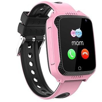PTHTECHUS Smartwatch Para Niños, GPS Reloj Inteligente Niño Niña con localizador Chat de voz SOS Cámara Despertador Podómetro Linterna Para Reloj ...