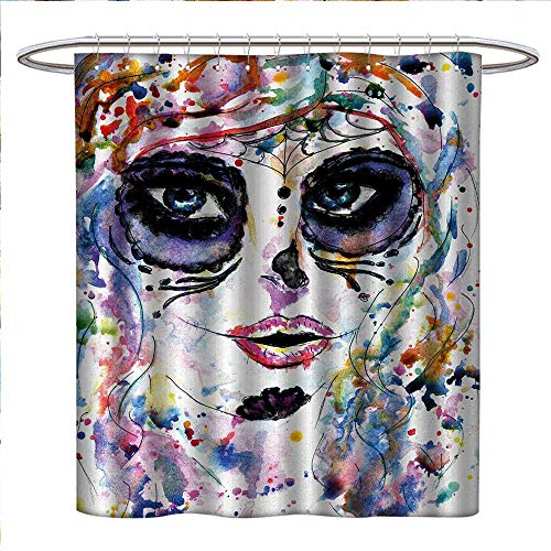 Anniutwo Sugar Skull Shower Curtains Waterproof Halloween Girl with Sugar Skull Makeup Watercolor Painting Style Creepy Look Bathroom Decor Sets with Hooks W48 x L72 Multicolor