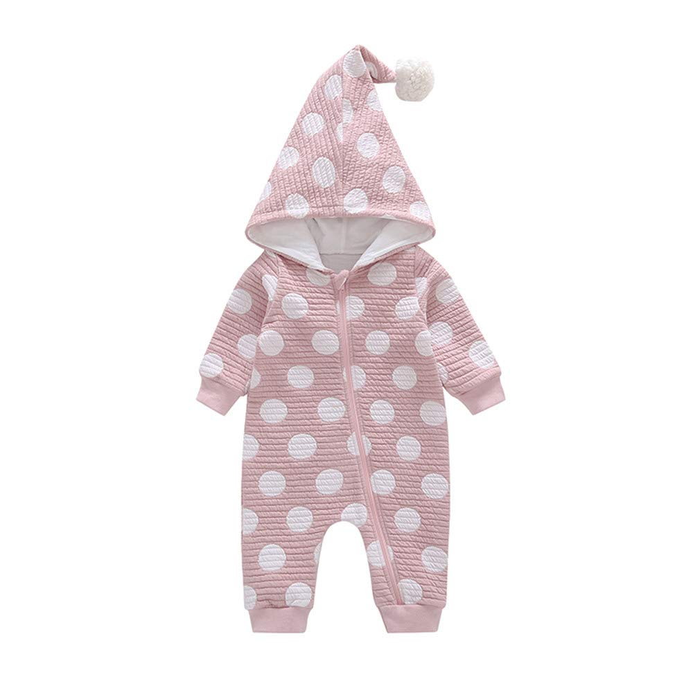 bfc495e779e7 Amazon.com   Franterd Little Girls Boys Hooded Rompers Baby Warm Long  Sleeve Wave Point Hair Ball Caps One-Piece Harem Cotton Overall Jumpsuits    Sports   ...