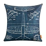 LINKWELL 18''x18'' Shabby Chic Blue Plane Airplane Design Draft Drawings Burlap Cushion Covers Pillow Case (CC1150)