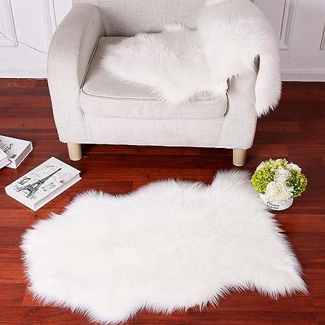 Faux Fur Sheepskin Rug Careu Soft Chair Cover Throw Rug For Lounge Bed  Floor Bathroom,