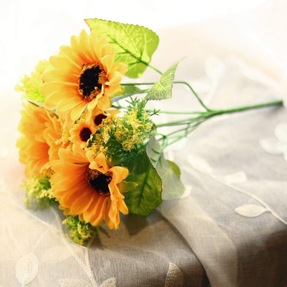 1 Mazzo di Girasoli in Seta Artificiale Girasole Finto Fiori da Sposa Come da Immagine 27 cm SparY per Decorazione Domestica e Matrimonio 7 steli Simulazione Floreale