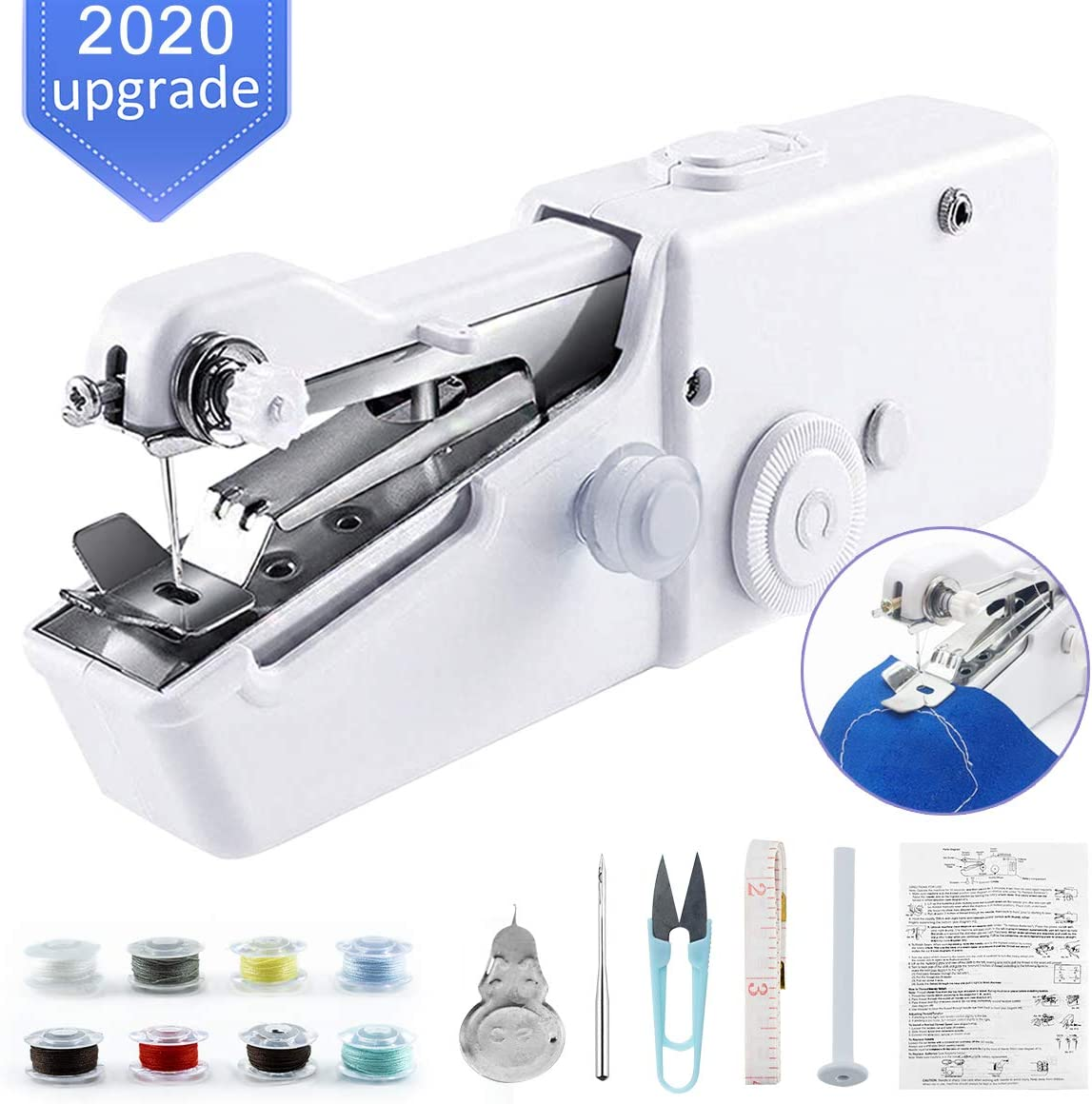 Oscaurt Handheld Sewing Machine for Beginners, Mini Stitching Sewing Machine Hand Electric Cordless Portable Sewer Machine for Kids Clothes, Home, DIY Accessories