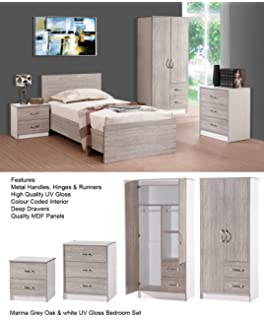 MARINA ULTRA HIGH GLOSS 3 PIECE TRIO BEDROOM SETS FURNITURE UNITS (GREY OAK  GLOSS U0026