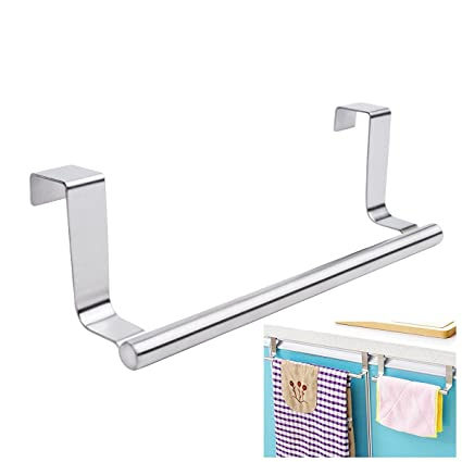 Mziart Modern Towel Bar With Hooks For Bathroom And Kitchen, Brushed  Stainless Steel Towel Hanger