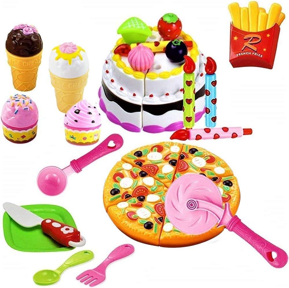 Astounding Amazon Com Funerica Pretend Play Cutting Food Toy Pizza Ice Personalised Birthday Cards Veneteletsinfo
