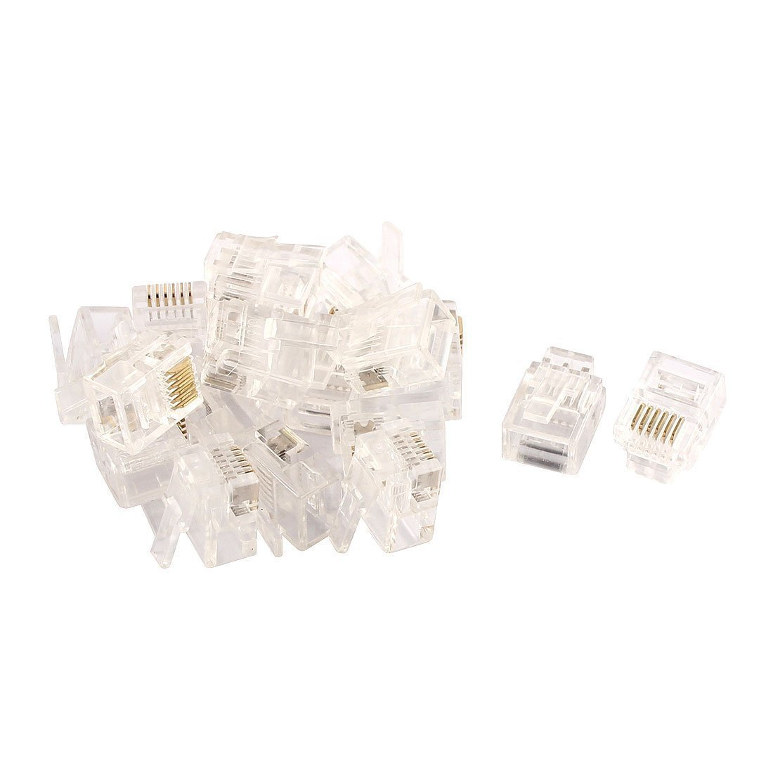 Home Mart 20pcs RJ12 6P6C Telephone Cable End Phone Adapter Connector Modular