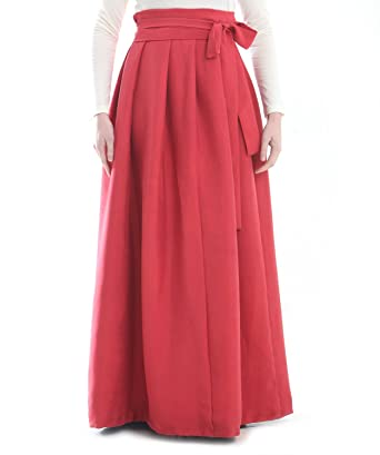 c372861393 Custom Tailor Made 100% Silk Red Wrap Around Long Pleated Skirt at ...