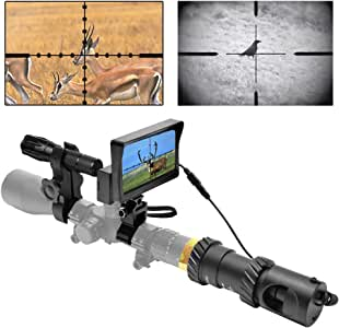 RHYTHMARTS [Upgrade DIY Digital Night Vision Monoculars for Riflescope with 5inch Screen and IR Flashlight Outdoor Hunting