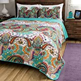 3 Piece Teal Blue Paisley Quilt Full Queen Set, Geometric Floral Pattern Damask Bohemian Theme Bedding Modern Shabby Chic French Country Flowers Motif Multi Color Reversible Quilted Texture, Cotton