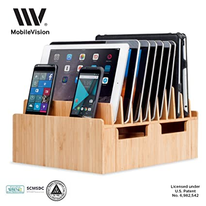MobileVision Bamboo 10 Port Charging Station U0026 Docking Organizer For  Smartphones U0026 Tablets, Family