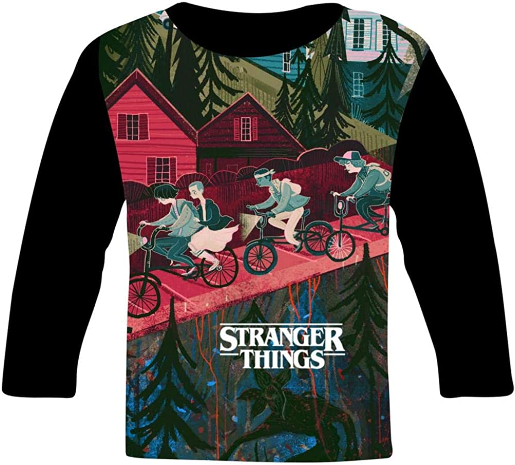 S-tranger-Thing-s Art Kids T-Shirts Long Sleeve Tees Fashion Tops for Boys//Girls
