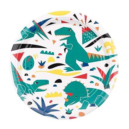 Amazon.com: Luck - Platos de papel de dinosaurio (8 unidades ...