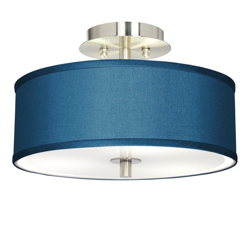 Blue Faux Silk 14'' Wide Steel Ceiling Light