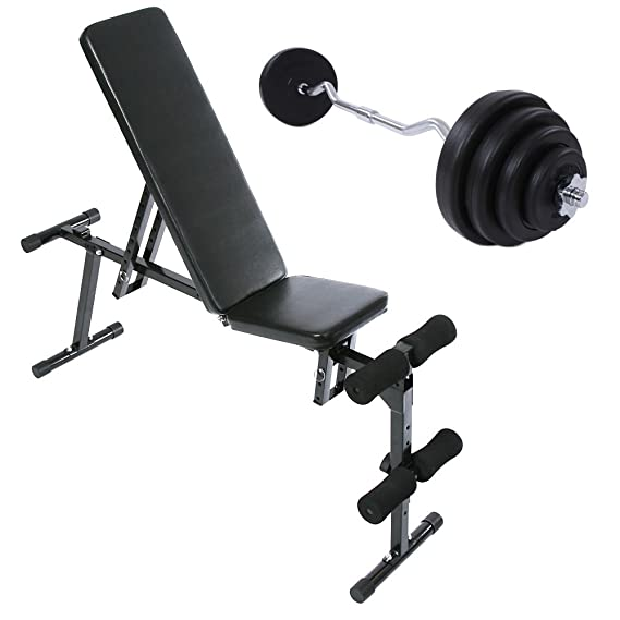 Physionics® - Set de banco de musculación (altura total: aprox. 120 cm), barra aprox. 120 cm y discos de pesas: Amazon.es: Deportes y aire libre