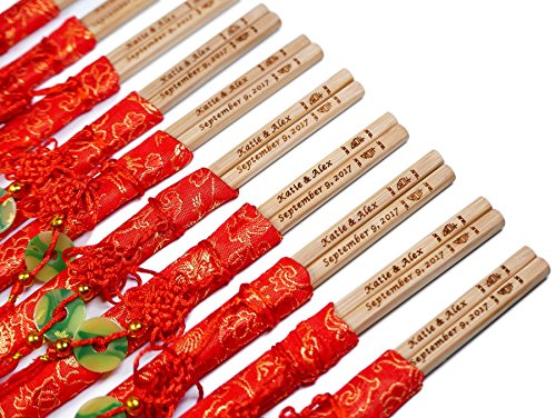 100 Pairs 10 Inch Natural Bamboo Chopsticks with Red Embroidery Pouches – With Custom Personalized Engraving of Names and Date – For Chinese or Japanese Traditional Wedding Favors and Wedding Dinner by STONE&WOOD (Image #2)