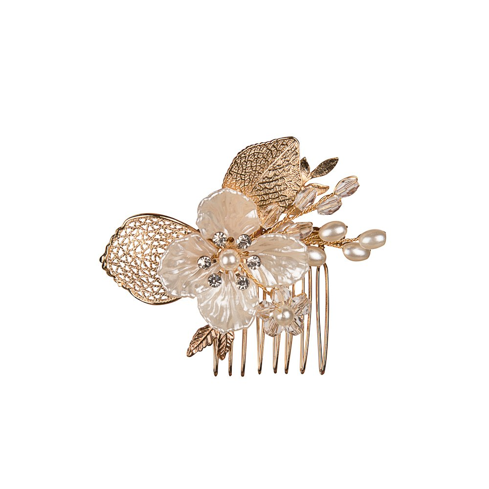 Feyarl Handmade Hair Side Comb with Crystal Rhinestone Gold Leaves Shell Flowers, Wedding Decorative Comb Party Hair Comb (Gold)