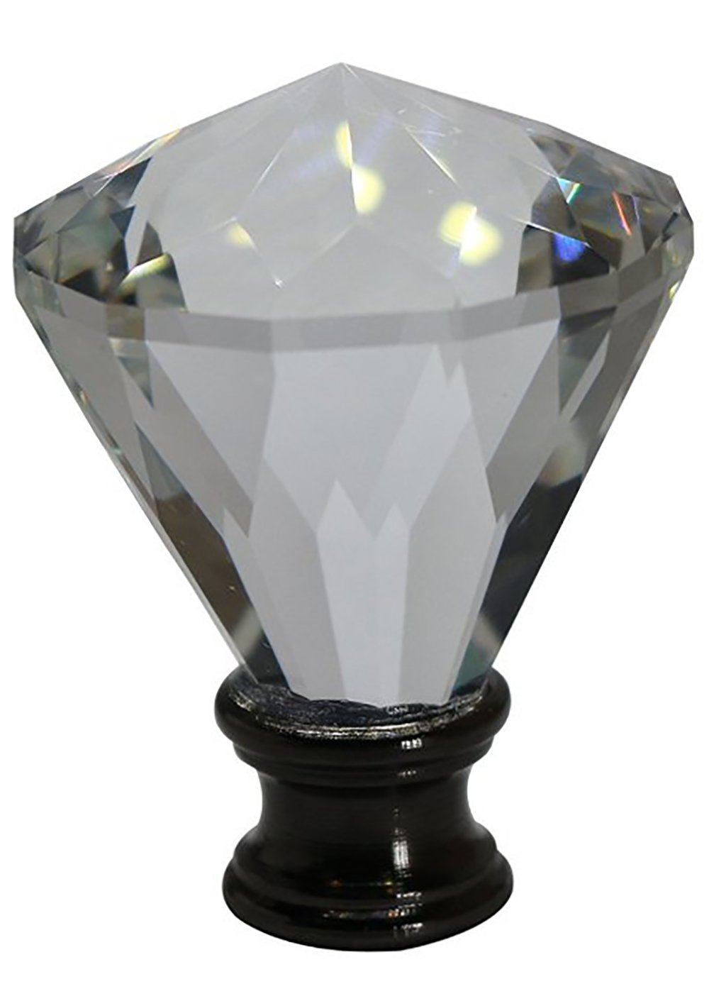 Urbanest Crystal Belle Lamp Finial, Black, 2 3/16-inch Tall