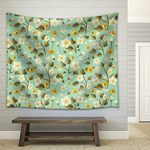 Hand Drawn Floral Seamless Pattern Fabric Wall