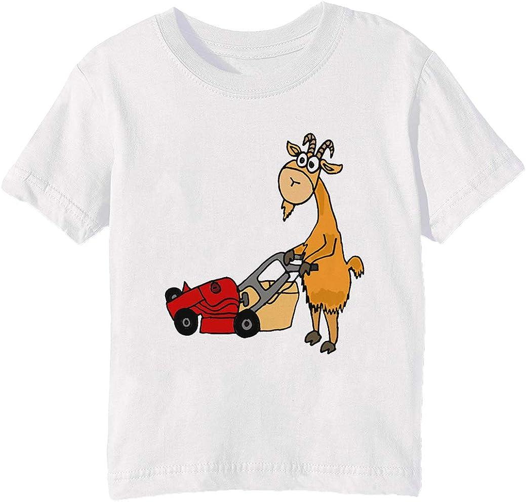 Gracioso Cabra es Siega el Césped con un Rojo Cortacésped - Cabra Niños Unisexo Niño Niña Camiseta Cuello Redondo Blanco Manga Corta Todos Los Tamaños Kids Boys Girls T-Shirt White