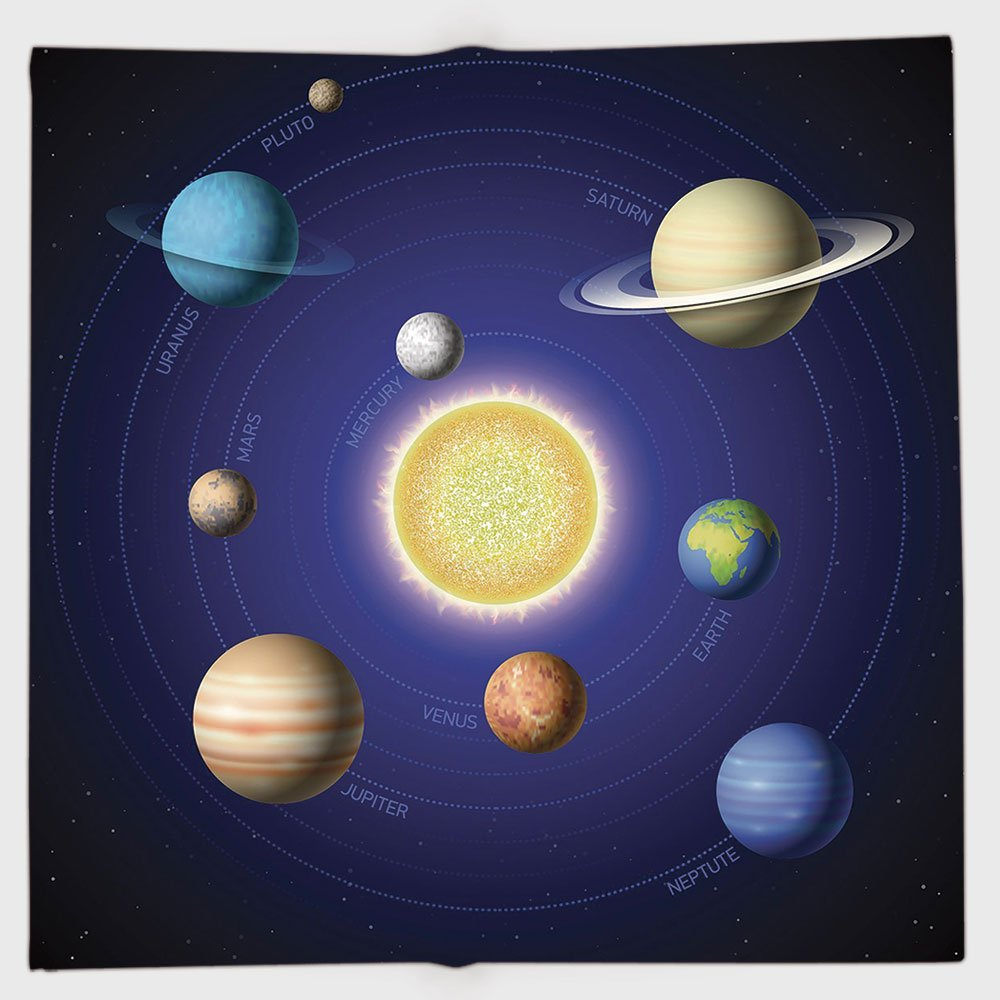 Cotton Microfiber Hand Towel,Space,Solar System Illustration Showing Planets around Sun Harmony of Galaxy Science Room Image,Multi,for Kids, Teens, and Adults,One Side Printing