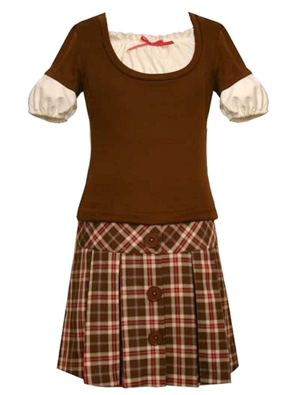 Big Girl Tween 7-16 Mock-Layer Pleated Plaid Drop Waist Dress