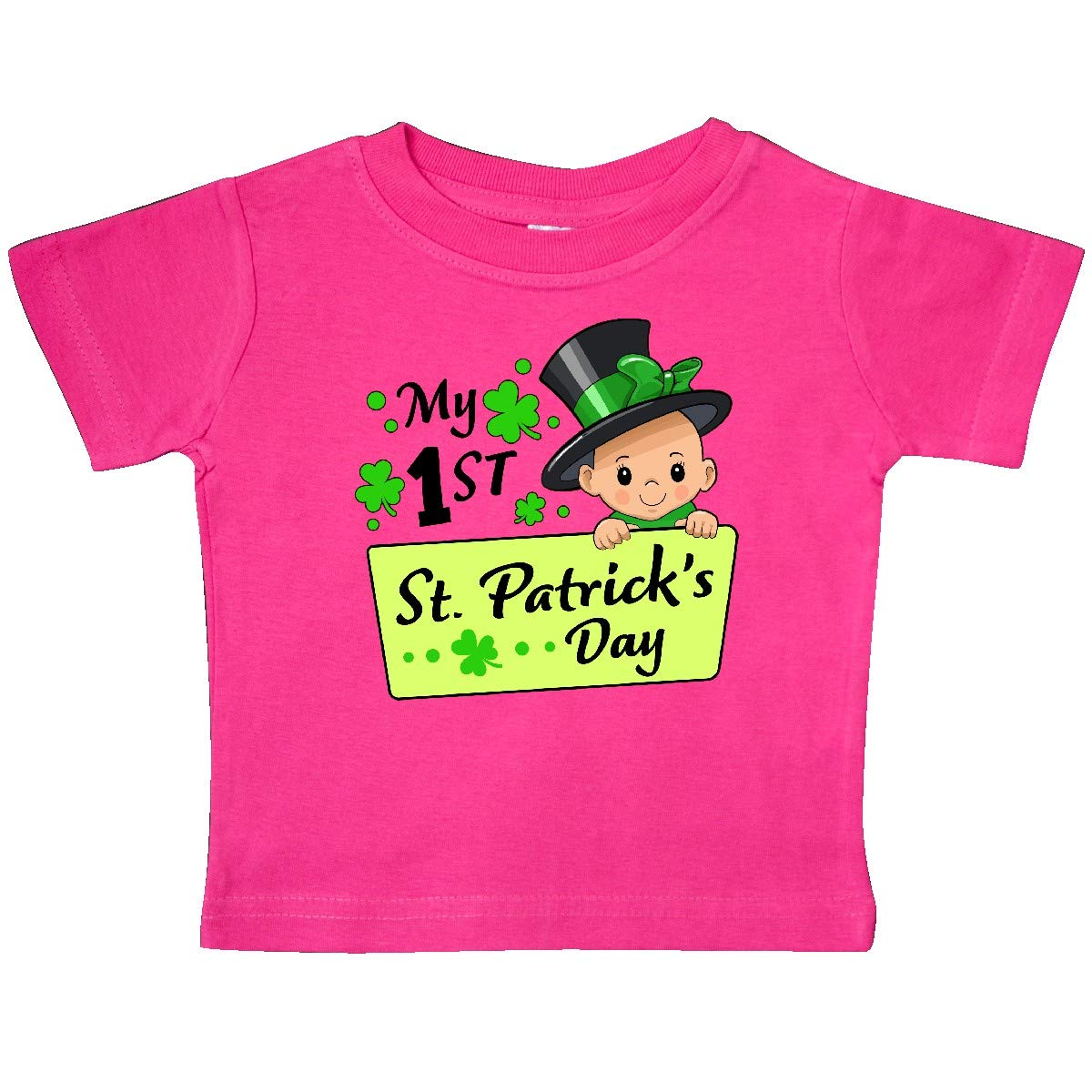 Baby in Top Hat and Bow Baby T-Shirt inktastic My 1st St Patricks Day