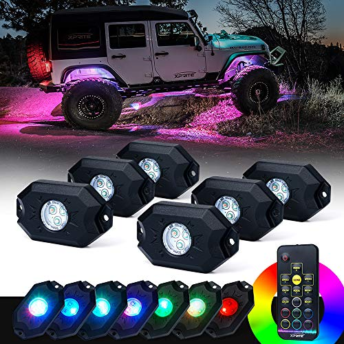 Jk Jeep Truck (Xprite 6PCs LED RGB Rock Light Kit with Wireless Remote Control, Flashing, Auto Scroll Modes, Multicolor Neon Lights Pod for Underglow Off Road, Truck, JEEP, UTV, ATV, SUV)