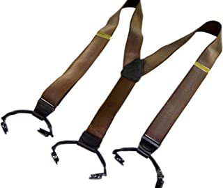 product image for Hold-Up Satin Finished Walnut Brown Double-up Y-back Suspenders with patented clips