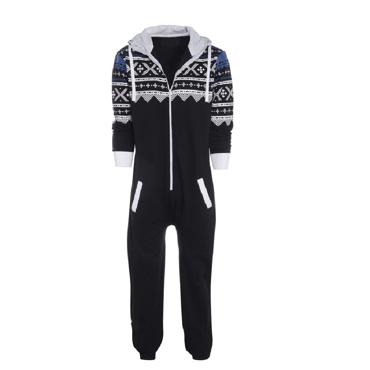 YUNY Men Rompers Fine Cotton Hood Lounger Cosplay Jumpsuit Pajamas Black L