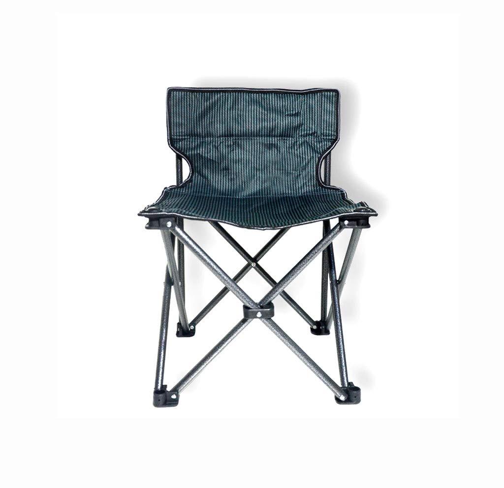 FH Outdoor Klappstuhl, Camping Beach Fishing Tragbarer Multifunktionsstuhl 40 × 40 × 57 cm, Schwarze und graue Streifen