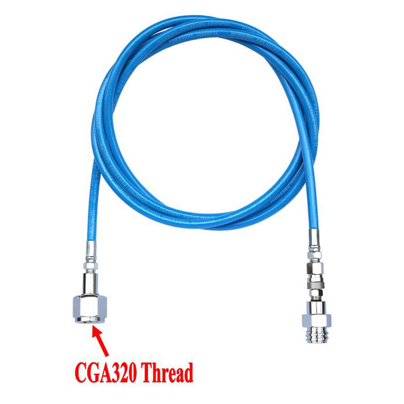 CO2 Soda Club To External CGA320 Tank Direct Adapter And Hose Kit (100'' Blue Hose) by GFSP
