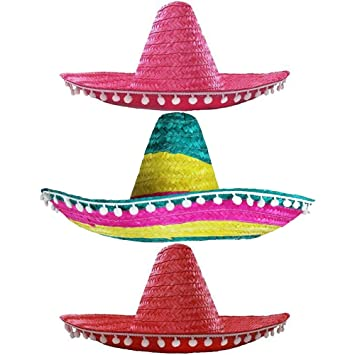 3ad0b320 ILOVEFANCYDRESS PACK OF 3 MULTICOLOURED MEXICAN SOMBRERO HATS RED PINK  RAINBOW COLOURS PACK OF 3 -