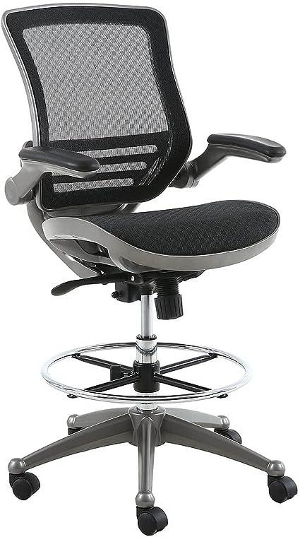 Gunmetal Finish Harwick Furniture 2250D-BK Harwick Evolve All Mesh Heavy Duty Drafting Chair