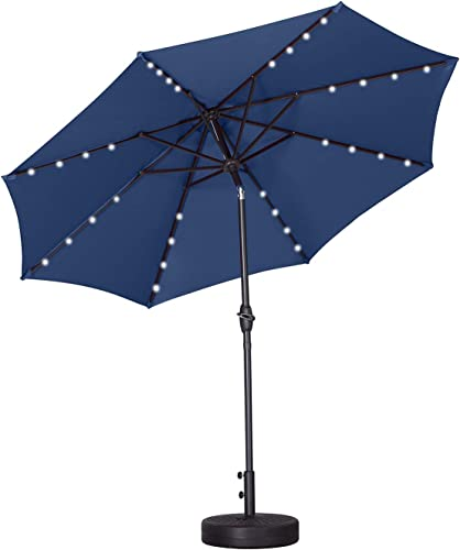 Outdoor Basic 9 Ft Patio Umbrella Fade-Resistant Table Umbrella with Wind Vent Navy with Base